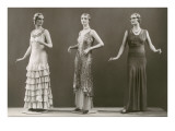 Three Twenties Mannequins in Long Dresses Prints