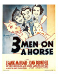 Three Men on a Horse, Joan Blondell, Frank Mchugh, Carol Hughes on Window Card, 1936 Affiches