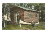 Three Men by Log Cabin and Canoe Posters