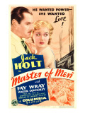 Master of Men, Jack Holt, Fay Wray on Midget Window Card, 1933 Foto