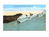 Surf Riding, Waikiki, Hawaii Print
