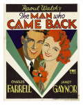 The Man Who Came Back, Charles Farrell, Janet Gaynor on Window Card, 1931 Photo