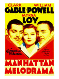 Manhattan Melodrama, Clark Gable, Myrna Loy, William Powell on Midget Window Card, 1934 Photo