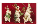 Three Rabbits Carrying Vegetables Giclee-tryk i høj kvalitet