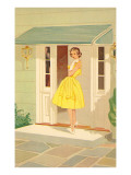 Fifties Yellow Dress Prints