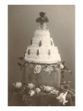 Black and White Photo of Wedding Cake Posters