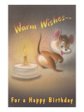 Warm Wishes for a Happy Birthday, Mouse and Candle Prints