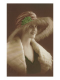 French Fashion, Woman in Fur and Hat Print