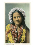 Hawaiian Girl with Leis Posters