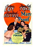 Man-Proof, Myrna Loy, Franchot Tone, Rosalind Russell, Walter Pidgeon on Midget Window Card, 1938 Pósters