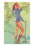 Pin-Up with Lumberjack Axe Prints