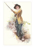 Lady with Fishing Rod Prints