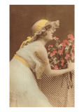 French Fashion, Woman in Lacy Yellow Hat Prints