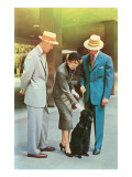 Two Men, Woman with Poodle, Fifties Prints