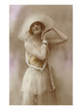French Fashion, Woman in Hat with Bare Arms Prints