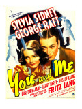 You and Me, Sylvia Sidney, George Raft on Window Card, 1938 Affiches