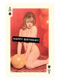 Happy Birthday, Naked Woman with Balloon on Playing Card Prints