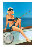 Woman Fishing in Bikini and Captain's Hat Prints
