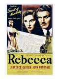 Rebecca, Joan Fontaine, Laurence Olivier on 1946 Re-Release Poster, 1940 Posters