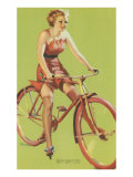Free-Wheeling, Blonde on Bike Prints