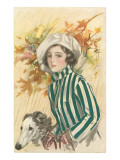 French Fashion, Woman with Borzoi Art