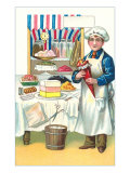 Boy with Various Desserts, Illustration Prints