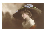 French Fashion, Huge Hat with Flowers Print