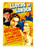 Lloyds of London, Freddie Bartholomew, Tyrone Power, Madeleine Carroll on Midget Window Card, 1936 Photo