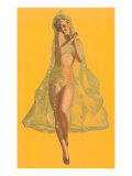 Pin-Up in Transparent Raincoat Poster