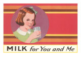 Milk for You and Me Advertisement, School Girl Posters
