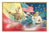 4th of July, Children with Rockets Posters