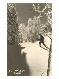 Sun Valley, Idaho, Cross Country Skier Reproduction giclée Premium