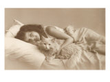Girl in Bed with Cat Prints
