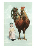 Baby with Giant Rooster Posters
