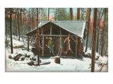 Deer Hanging by Rustic Cabin in Winter Posters