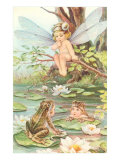Baby with Dragonfly Wings and Frog Children Poster