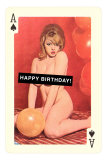 Happy Birthday, Naked Woman with Balloon on Playing Card Print
