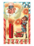 4th of July, Child with Fireworks, Uncle Sam Prints