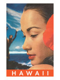 Hawaii, Lady with Hibiscus Poster
