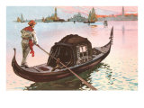 Gondolier, Venice, Italy Poster