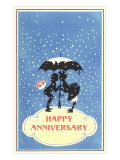 Happy Anniversary, Couple under Umbrella Prints