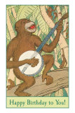 Happy Birthday, Monkey with Banjo Poster