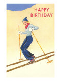 Happy Birthday, Lady Skiing Prints