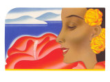 Mujer hawaiana con hibiscos Póster