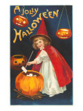 Halloween, Little Witch with Pumpkin Cauldron Prints