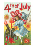 4th of July, Girl with Cannon Poster
