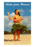 Aloha from Hawaii, Hula Girl on Beach Posters