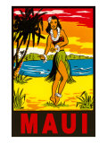 Maui, Hula Girl, Hawaii Plakater