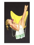 Lady on Telephone with Legs Up on Chair Back Poster