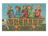 Dressed Kittens Go for a Hayride Posters